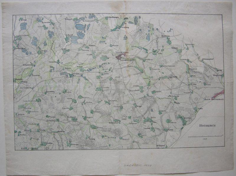 Hochkirch Bautzen Oberlausitz Sachsen kolor Orig Kupferstichkarte 1838