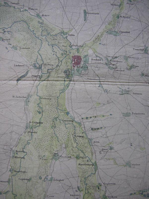 Leipzig Sachsen Taucha Deuben Althen kolor Orig Kupferstichkarte 1838