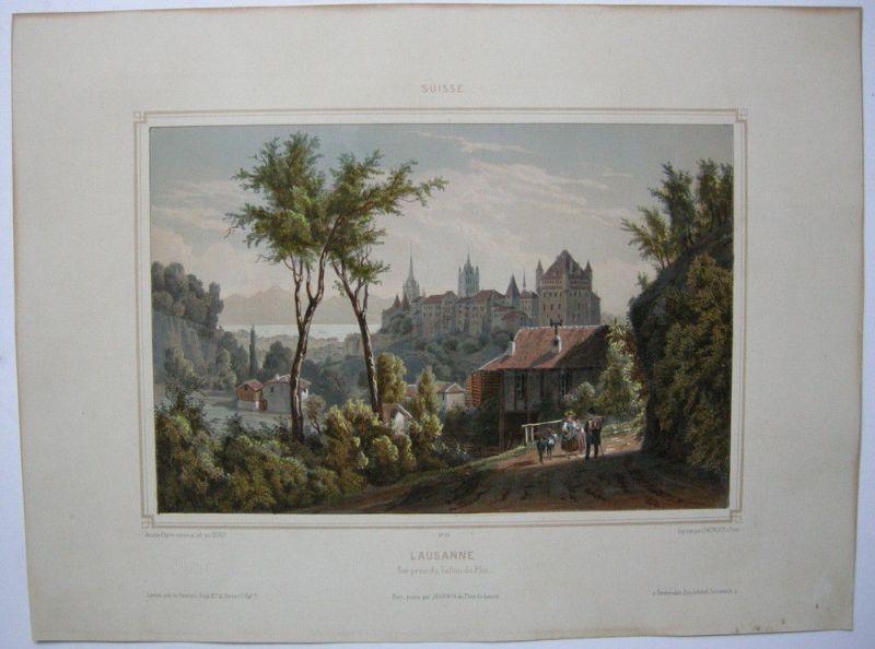 Lausanne Waadt Schweiz Gesamtansicht Orig Lithografie Deroy Suisse 1850