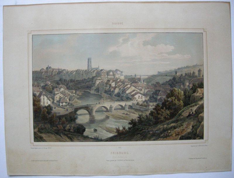 Fribourg Freiburg Schweiz Gesamtansicht Orig Lithografie Deroy Suisse 1850