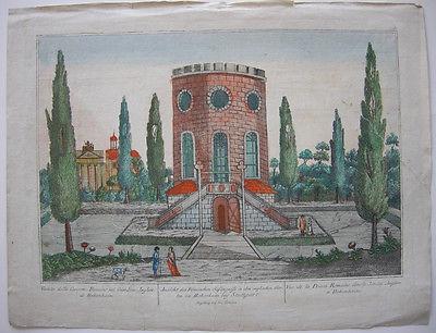 Optical view Guckkastenblatt Stuttgart Hohenheim Gefängnis Orig Kupferstich 1750
