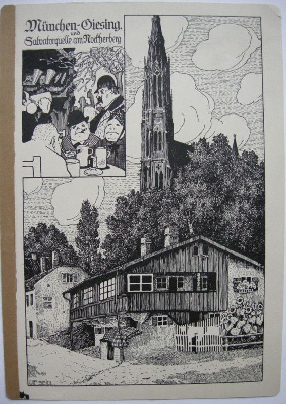 Ulf Seidl Giesing Nockherberg München Orig Lithographie 1930