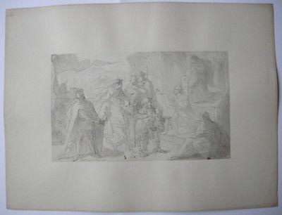 August v Heckel (1824-1883) Doppelhochzeit Gunther Siegfried Federzeichng 1860