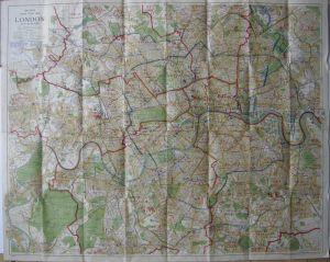 London Stadtplan Bacon's large print Map 1935 Lithografie England