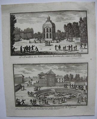 Gabriel Perelle (1603-1677) Pavillon Chantilly Vigneul Orig Kupferstich 1660