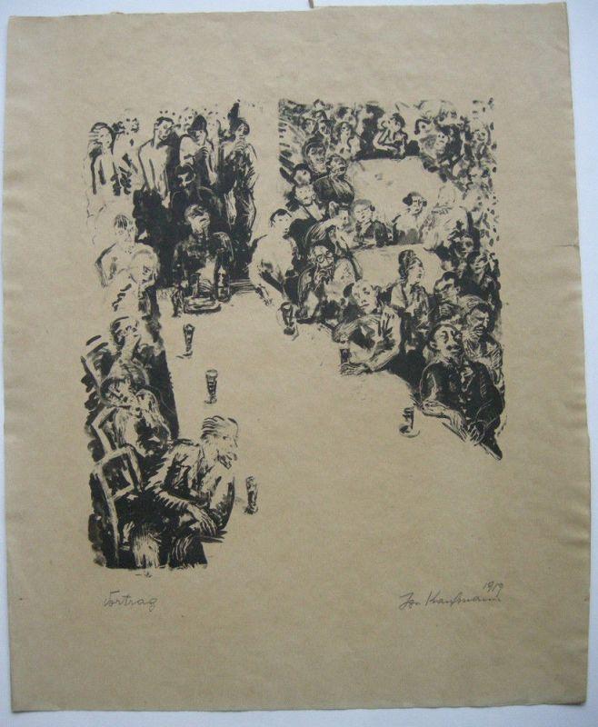 Ignaz Kaufmann (1885-1975) Vortrag Orig. Lithografie 1919 sign  Expressionismus