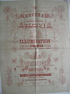Karneval Vereinigung Letitzel Essen Plakat 1846 Orig Lithografie 93 x 69 cm