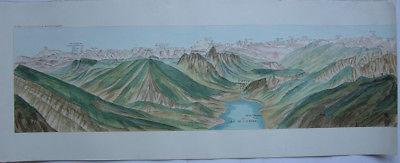 Chaine des hautes Alpes Panorama Alpenkette vom Rigi Reprint 1970 Schweiz