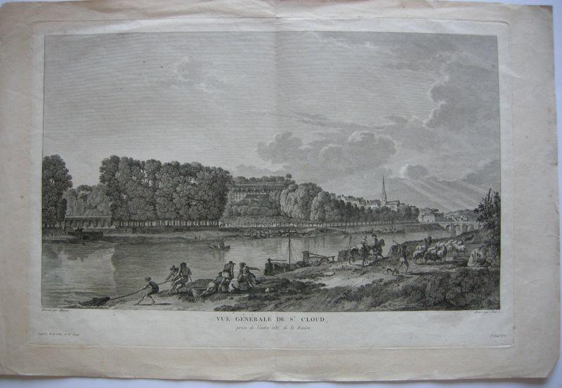 Vue de St. Cloud Ile de France Hauts-de-Seine gravure en cuivre Nee 1795 Paris