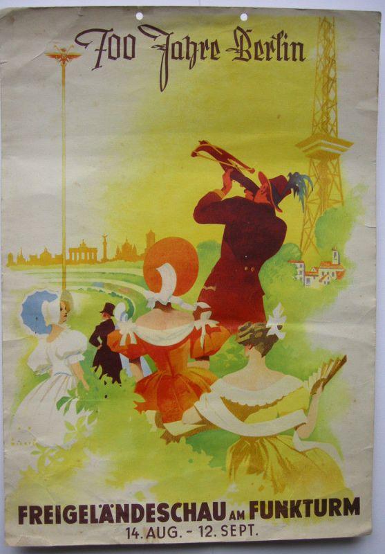 700 Jahre Berlin Freigeländeschau Funkturm Orig Plakat 1937