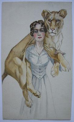 Wilhelmine Torke (XX) Dame mit Löwe auf Schultern Orig Aquarell 1950
