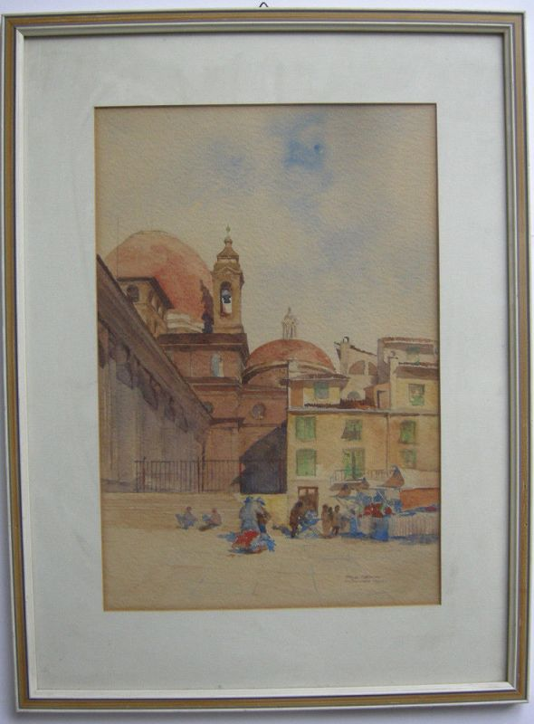 Paul Gedon (XIX-XX) Venedig Marktstand vor Kirche Orig Aquarell signiert gerahmt