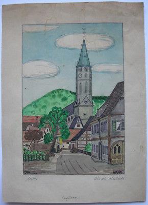 Urach Aus der Altstadt Orig Aquarell F. Weiss 1944 Baden Württemberg