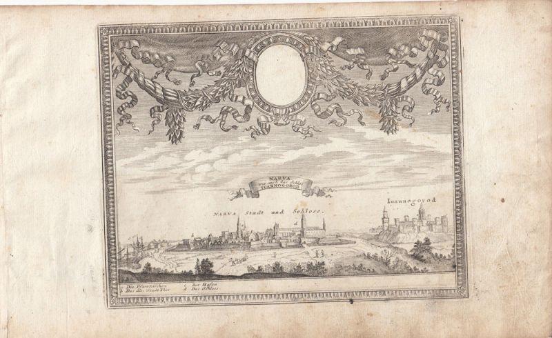 Narva Gesamtansicht Iuannagorod Estland Baltikum Orig Kupferstich 1720 Bodenehr