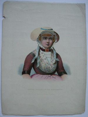 Jeune Fille de la Zeelande Mädchen in Tracht von Zuid-Beveland Farblithogr 1855