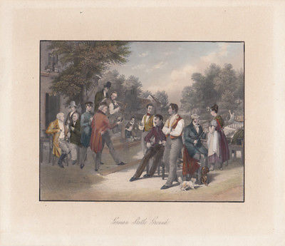 German Skittle Ground Kegelbahn vor Gasthaus kolor Orig Stahlstich 1850