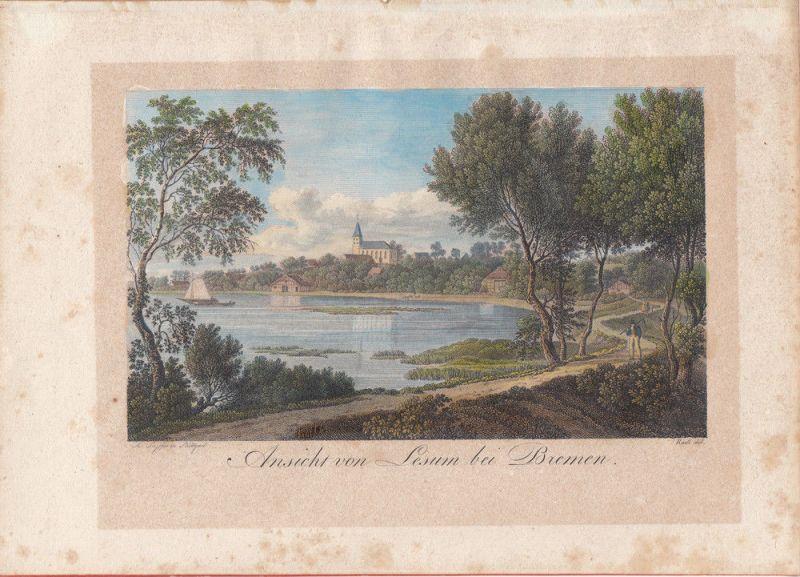Ansicht von Lesum bei Bremen kolor. Orig Stahlstich Radl 1850