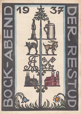 AK Studentika Regensburger Studiengenossenschaft Bock-Abend Holzschnitt 1937