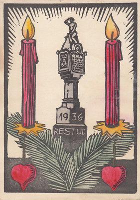 AK Studentika Regensburger Studiengenossenschaft Weihnachten Holzschnitt 1936