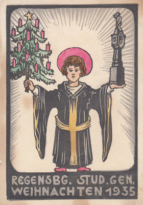 AK Studentika Regensburger Studiengenossenschaft Weihnachten Holzschnitt 1935