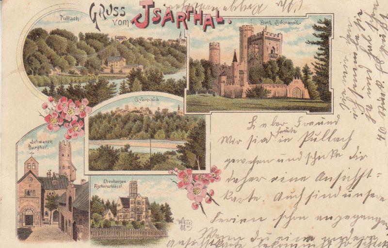 Isartal Burg Schwaneck Grünwald Burghof Ebenhausen Oberbayern Litho gel 1899
