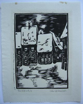 O Heinsius ((1892-1976)  Verschneite Dorfpartie Orig Linolschnitt 1930 signiert