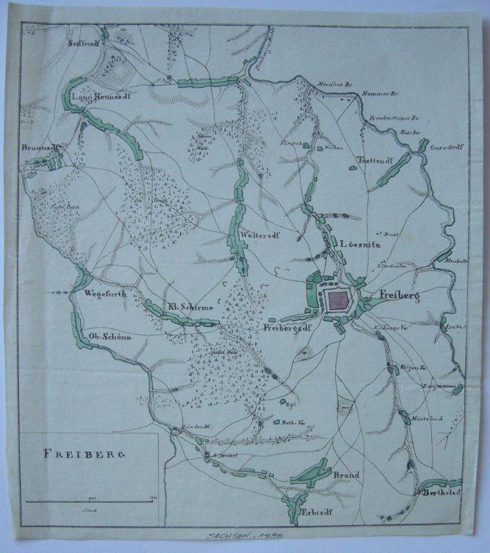 Freiberg Loesnitz Freibergsdorf Sachsen kolor Orig Kupferstichkarte 1838