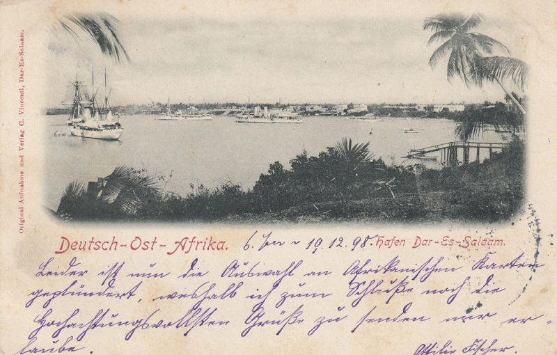 AK Dar-es-Salaam Hafen Deutsch-Ost-Afrika Kolonien gel 1898 Afrika