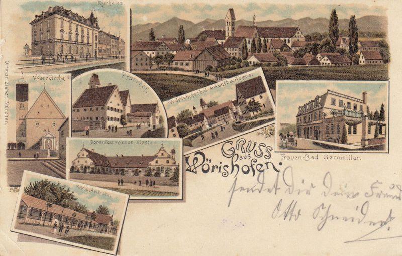 AK Bad Wörishofen Pfarrkirche Kloster Frauen-Bad Rössle Litho gel 1898