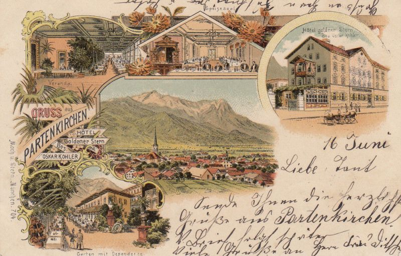 AK Partenkirchen Hotel Goldner Stern Speisesaal Garten Veranda Litho gel 1898