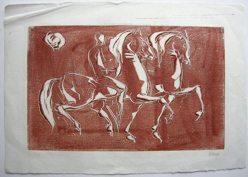 Tugomir Hulenger (1931) Reiter in antiker Manier Orig Radierung ca.1988 signiert