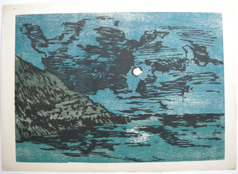 Hanspeter Sommer Felsenküste im Mondschein Orig. Farbholzschnitt 1981 signiert