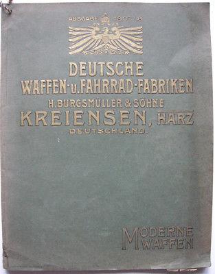Burgsmüller Kreiensen Gewehrfabrik Katalog Gewehre Pistolen Munition 1907