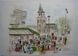 Urbain Huchet (1930) Paris Cafe Deux Maggot Orig Farblithografie 1965 signiert