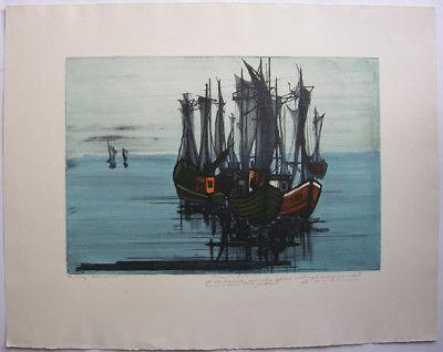 Hans Behrens (1934) Fischerboote Orig Farbradierung 1959 signiert Widmg Probedr