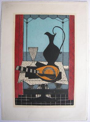 Hans Behrens (1934) Stilleben am Meer Orig Farbradierung 1959 signiert Probedr