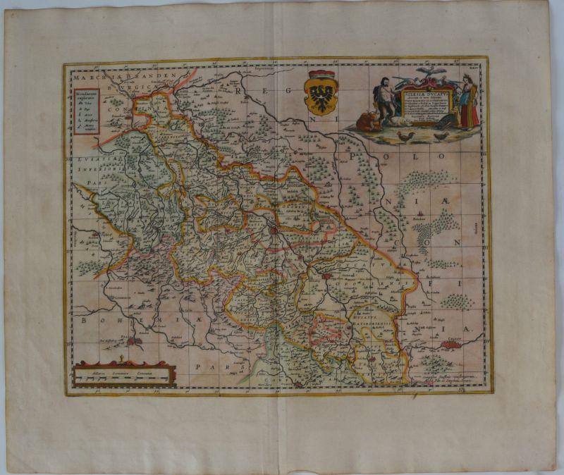 Silesia Ducatus Slask Polen Kolor Kupferstichkarte Janssonius Schlesien 1634