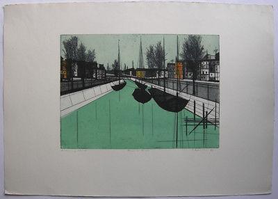 Hans Behrens (1934) Berlin am Kanal Orig Farbradierung 1958 signiert 47/50