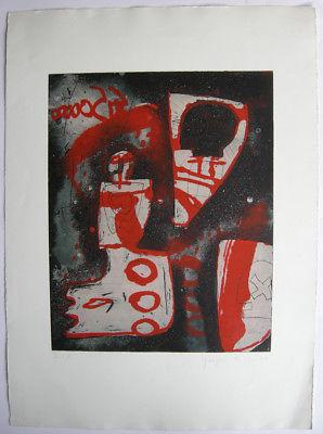 Gregor Hiltner (1950) Abstrakte Komposition Orig Farbradierung signiert III/VI