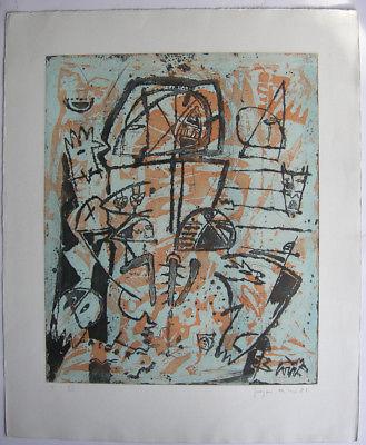 Gregor Hiltner (1950) Abstrakte Komposition Orig Farbradierung signiert V/VI