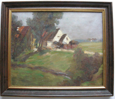 Johanna H. Merre (1867-1940) Häuser in Landschaft Öl/Leinwand signiert 1902