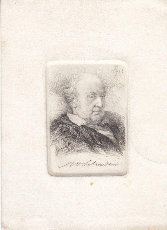 Wilhelm Schadow Maler Portrait Radierung Ernst von Forberg 1878 monogrammiert