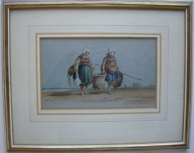 Charles Cooper Henderson (1803-1877) Fischerinnen am Strand Orig Aquarell 1850 0