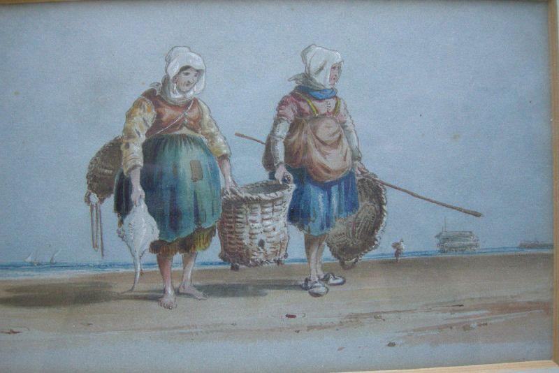 Charles Cooper Henderson (1803-1877) Fischerinnen am Strand Orig Aquarell 1850 1