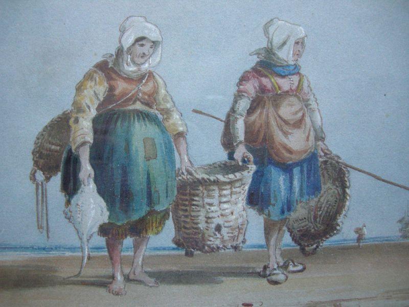 Charles Cooper Henderson (1803-1877) Fischerinnen am Strand Orig Aquarell 1850 2