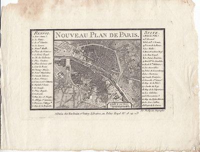 Nouveau Plan de Paris Orig. Kupferstich Philipeau 1800 Frankreich France