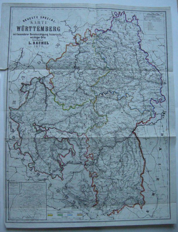 Neueste Spezialkarte Württemberg Orig. Farblithografie L. Rachel 1870 Telegraph