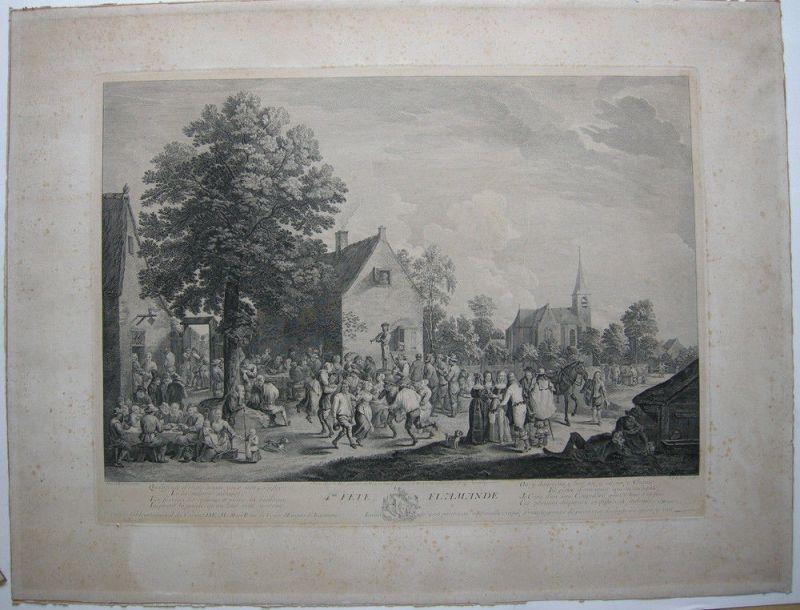 Jacques Philipp LeBas (1707-1783) Fete Flamande Orig Kupferstich 1760 Teniers