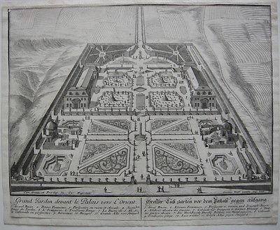 Lustgarten Schloss Ludwigsburg Orig Kupferstich I. Wolff nach J. F. Nette 1709