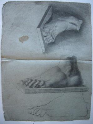 Zeichenstudie Füße Orig Kohlezeichnung 1880
